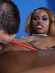 Ebony femdom Tori Taylor face sitting a guy and torturing his cock