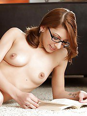 Sweet babe in glasses Lexi Bloom stripping and spreading her legs