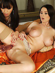 Hot lesbians with ravishing bodies have some fun using their sex toys