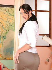 Stupendous brunette MILF in stockings uncovering her voluptuous curves