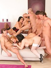 Arousing ladies with hot bodies enjoy a groupsex with well-hung guys