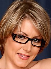 Bosomy MILF in glasses Velicity Von stripping off her dress and panties