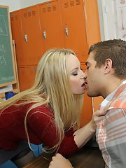 Salacious teacher in stockings Aiden Starr gets shagged in the classroom