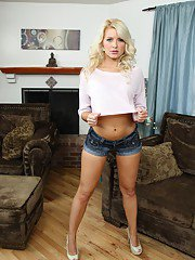 Tempting blonde MILF Anikka Albrite gets rid of her clothes