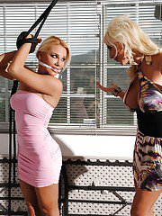 Naughty femdom Puma Swede has some rough fun with her female human pet
