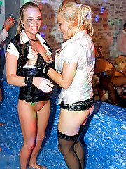 Fetching gals getting wet and going wild at the drunk party