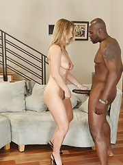 Sultry blonde MILF Avy Scott has some fun with a big black shaft
