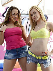 Sexy pornstars Chanel Preston  Jessie Rogers get rid of their clothes