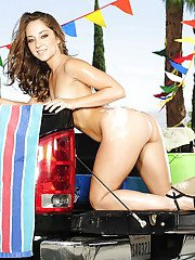 Seductive female car washers slipping off their bikinis outdoor