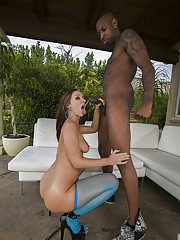 Jada Stevens gets her big ass oiled up and stuffed by a black prick