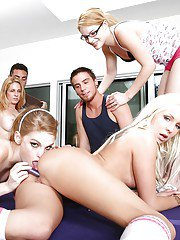 Lucky guys enjoy a groupsex with sultry hotties at the house party