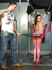 Submissive brunette on high heels gets tortured and roughly fucked