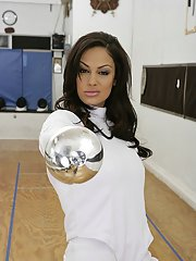 Hot fencer with big tits Angelina Valentine sucks and fucks a huge cock