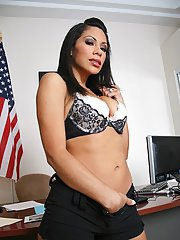 Cassandra Cruz teases her pussy and gets it slammed by a big cock