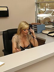 Seductive office lady Holly Sampson gets drilled by her boss
