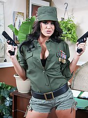Busty lady in army uniform Savannah Stern gets her trimmed pussy drilled