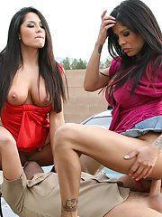 Gorgeous latina sluts have a threesome with a well-hung guy