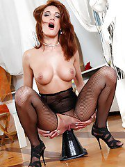 Leggy babe in pantyhose suit Milla Yul showcasing her gorgeous body