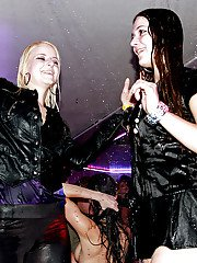 Lustful lassies stripping off their wet clothes at the lesbian party