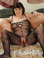Slutty granny in pantyhose suit gets her hairy twat nailed hardcore