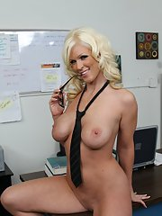 Office lady in glasses Kaylee Brookshire gets rid of her suit and lingerie