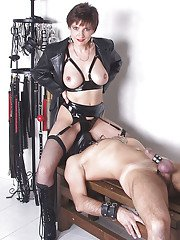Naughty femdom torturing her male pets cock and face sitting him