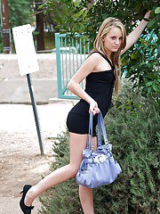Sara Jaymes flashing her titties and shaved slit in a public place