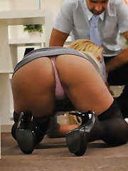 Big busted office slut Shyla Stylez gets her trimmed pussy shafted hardcore