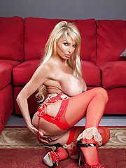 Blonde MILF in stockings Taylor Wane uncovering her voluptuous curves