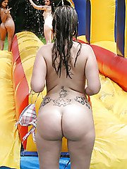 Frisky gals showing off their blowjob skills at the pool party