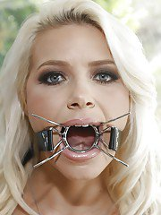Seductive blonde babe Anikka Albrite trying out some fetish stuff