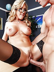 Slutty teacher in glasses Brandi Love gives a blowjob and gets shagged