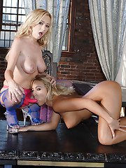 Lesbian sweeties Hillary Scott  Jasmine Tame playing with their toys