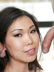 Lustful asian slut with neat ass has some anal fun with two studly lads
