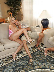 Hot wifes Ashli Orion  Carly Parker enjoy their first swing experience
