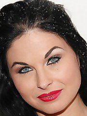 Desirable brunette MILF with red lips Alma Blue stripping off her clothes