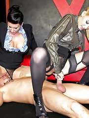 Celine Noiret enjoys CFNM threesome with her friend and submissive guy