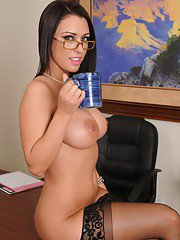 Big busted office lady taking off her formal suit and lingerie