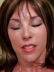 Busty MILF gets fucked and takes a large cumshot on her face and breasts