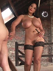 Curvaceous mature femdom has some fun with her fastened male pet
