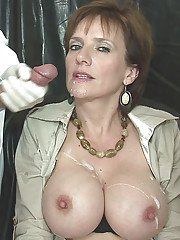 Mature lady gets involved into sex play and takes double cumshot on her tits