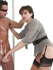 Naughty femdom changes her clothes while pleasing her male pets hard dick