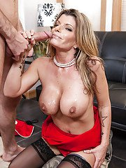 Busty MILF in stockings Kristal Summers gets her bald twat drilled tough