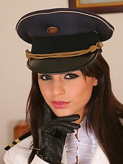 Angelika Black stripping off her uniform and spreading her long legs