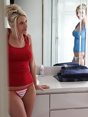 Big busted blonde babes get caught on a voyeur video having some lesbian fun