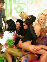 Kinky vixens enjoy a passionate and messy groupsex with studly lads