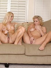 Ample-breasted blonde babe gets involved into sensual lesbian threesome