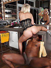 Sultry blonde slut on high heels blows and fucks a big black cock