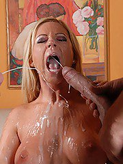 Hot MILF fucks two giant cocks and gets completely glazed with double cumshot
