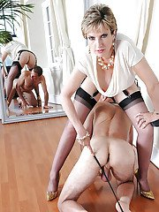 Filthy femdom on high heels torturing her submissive male pet